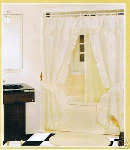 OFF WHITE FABRIC SOLID DOUBLE SHOWER CURTAIN VINYL LINER