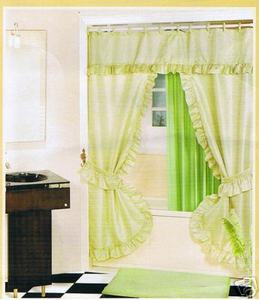 GREEN FABRIC SOLID DOUBLE SHOWER CURTAIN VINYL LINER
