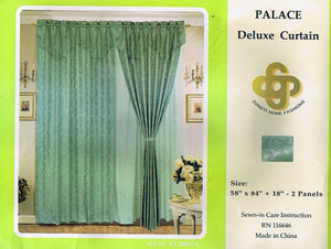 Window Curtains / Drapes with attached Valance & Liner - Sage 481