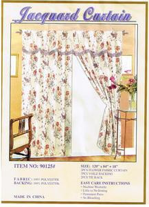 Window Curtains / Drapes with attached Valance & Liner - White Floral