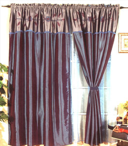 Window Curtains / Drapes with attached Valance & Liner - Blue 477 1148