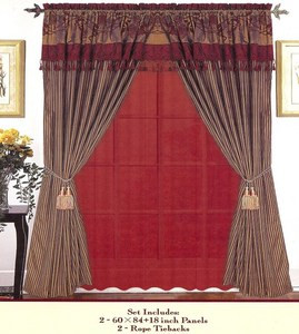 Window Curtains / Drapes with attached Valance & Liner - Burgundy 476