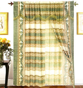 Window Curtains / Drapes with attached Valance & Liner - Green & White