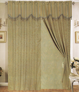 Window Curtains / Drapes with attached Valance & Liner - Sage 470