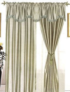 Window Curtains / Drapes with attached Valance & Liner - Sage
