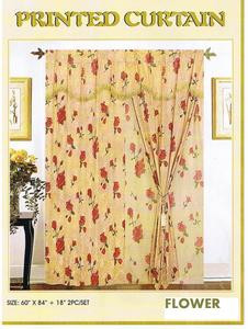 Window Curtains / Drapes with attached Valance & Liner - Peach