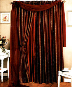 Window Curtains / Drapes with attached Valance & Liner - Burgundy 463 1135