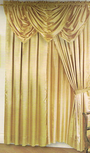 Voile Silk Satin Window Curtain With Valance & tiebacks - Gold