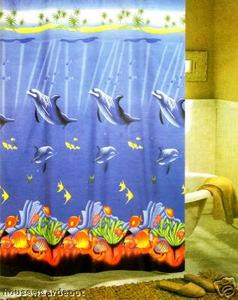 Fabric Shower Curtain + 12 Hooks Dolphine BRAND NEW!!!
