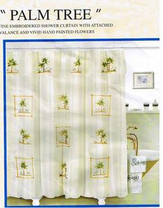 EMBROIDERED FABRIC SHOWER CURTAIN +VALANCE +VINYL LINER 426