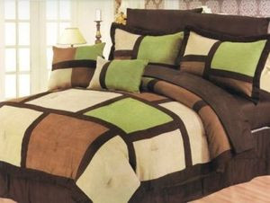 KING Size Faux Suede Patchwork Bed in a Bag 10 pc. Comforter / Bedding Set -Sage