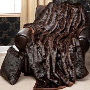 """MINK"" FAUX FUR THERMAL THROW BLANKET - Dark Brown color"