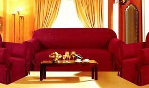 3pc.Sofa Loveseat Chair Slipcovers Micro Suede-Burgundy