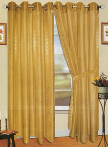 Window Rings Curtains / Drapes Set w/ TieBacks - Gold