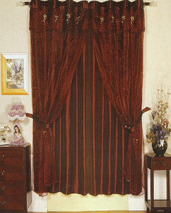 Window Rings Curtains/Drapes Set w/ TieBacks D.Burgundy