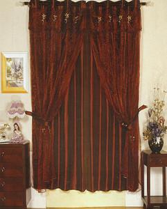 Window Rings Curtains/Drapes Set w/ TieBacks D.Burgundy