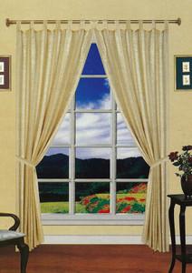 Window Curtains/Drapes Set Tab Headings+TieBacks -Beige