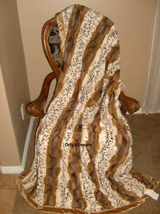 "SAFARI - ""MINK"" FAUX FUR THERMAL THROW BLANKET 52"" X 70"" - Light Safari colors"