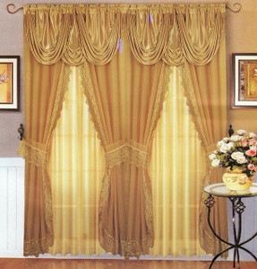 Voile Silk Satin Curtain With Attached Valance Offwhite