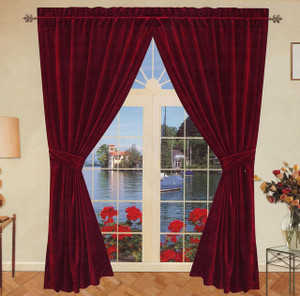 Velvet Window Curtains / Drapes - Burgundy Wine Color