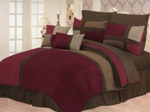Queen Faux Suede Patchwork Bed in a Bag 10 pc. Comforter / Bedding Set -BURGUNDY 180819876033