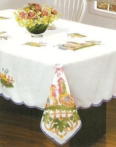 "Rooster Beige design Table Cloth / Damask  72""  ROUND"