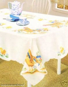 "Rooster Beige design Table Cloth / Damask 60"" x 90"" OB"