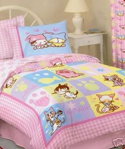 Brand New!!! - Twin Barcode Kitties Pink Comforter Set