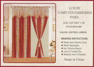 Window Taffeta Curtains/Drapes Set+Valance+Liner -Brown 1086
