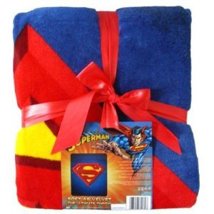 "NEW Superman LOGO ""Mink""Plush Blanket Bedspread-JR Size"