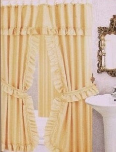 GOLD -Double Swag Fabric Shower Curtain +Valance +Liner