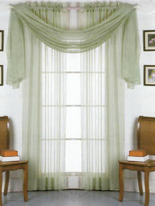 2 Panels 1 Scarf Voile Sheer Curtains Drapes Set - Sage