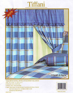 100% Cotton Window Curtains /Drapes+Valance+Liner -Blue