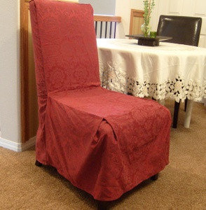 NEW 6 Pc Dining Room CHAIR SLIPCOVER FIT set - Burgundy