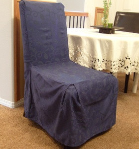 6 Pc. Dining Room CHAIR SLIPCOVER FIT set - Navy Blue