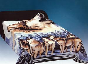 QUEEN Korean Made Wolfves Wolf Plush Raschel Blanket
