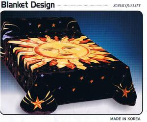 QUEEN Korean Design Sun and Stars Plush Raschel Blanket