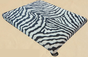 QUEEN Korean Design Zebra Skin Plush Raschel Blanket