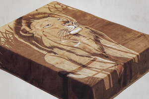 QUEEN Korean Design Lion Brown Plush Raschel Blanket