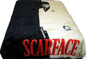 QUEEN  Scarface Tony Montana Mink Plush Raschel Blanket 032