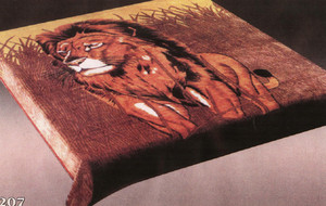 KING Korean Design Lion Brown Plush Raschel Blanket