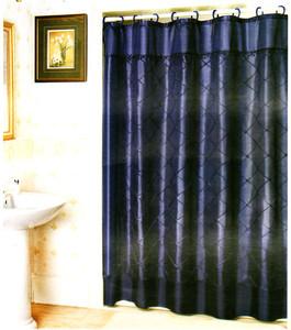 Fabric Diamond Stitch Shower Curtain w/ Vinyl - Navy Blue