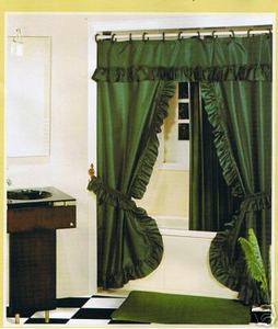 DARK GREEN FABRIC SOLID DOUBLE SHOWER CURTAIN VINYL LINER
