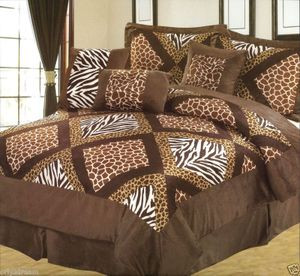 "QUEEN size Bed in a Bag 7 pcs ""Micro Fur""Comforter Bedding Ensemble Set - SAFARI"