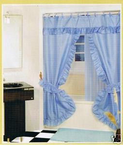Blue FABRIC SOLID DOUBLE SHOWER CURTAIN VINYL LINER-NEW