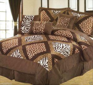 "KING size Bed in a Bag 7 pcs ""Micro Fur"" Comforter Bedding Ensemble Set - SAFARI"