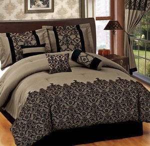 KING size Bed in a Bag 7 pcs Luxurious Comforter Bedding Ensemble Set - COFFEE