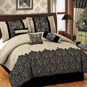 TWIN size Bed in a Bag 5 pcs Luxurious Comforter Bedding Ensemble Set - BEIGE