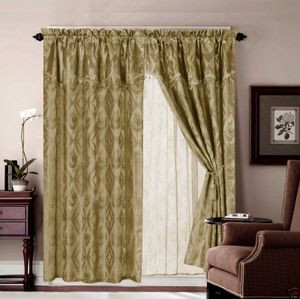 Jacquard Window Curtains / Drapes Set with Attached Valance & Lace Liner - TAUPE