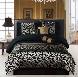 CAL-CALIFORNIA KING size 7pcs Luxurious Comforter Bedding/Bed Ensemble Set-Leaf